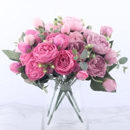30 cm różowe różowy jedwab piwonia sztuczny bukiety kwiatowe 5 duża głowa i 4 Bud tanie sztuczne kwiaty do dekoracji ślubnej dom