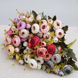 10 głowice/1 bundle Silk tea roses bukiet panny młodej na boże narodzenie dekoracje ślubne nowy rok dekoracji sztuczne rośliny s