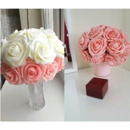 10 głowice 8 CM całkiem urocze sztuczne kwiaty PE piankowe kwiaty — róże bukiet panny młodej dekoracja ślubna do domu Scrapbooki