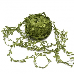 10 metr jedwabiu w kształcie liścia handmade sztuczne zielone liście do dekoracji ślubnych DIY wieniec prezent Scrapbooking Craf