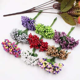12 sztuk/partia rzemieślnicze sztuczne kwiaty pręcik cukier wesele dekoracje DIY wieniec pudełko Scrapbooking tanie sztuczne kwi