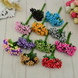 12 sztuk pręcik cukier sztuczne kwiaty ręcznie robione tanie dekoracje ślubne diy wieniec robótki pudełko scrapbooking sztuczny