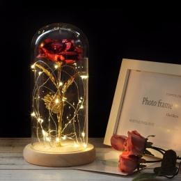 HOT Rose w kolby piękna i bestia pozłacane czerwona róża z LED światła w szklaną kopułą dla wedding Party prezent na dzień matki
