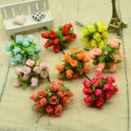 12 sztuk jedwabne róże bukiet diy boże narodzenie girlandy wazony dla domu dekoracje ślubne akcesoria tanie sztuczne plastikowe