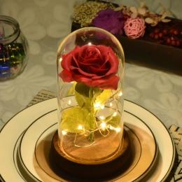 2019 Dropshipping piękna i bestia czerwona róża w szklance kopuła z LED światła drewnianej podstawie na walentynki prezenty na d