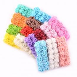 12 sztuk/partia Mini koronkowa pianki wzrosła sztuczny kwiat na ślub dekoracja domu DIY Craft wianek prezent wystrój sztuczny kw