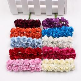 12 sztuk/partia sztuczny kwiat Mini uroczy papier Rose Handmade do dekoracji ślubnych DIY wieniec prezent Scrapbooking rzemiosło