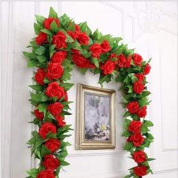 250 cm/partia jedwabne róże stroik z bluszczu z zielonymi liśćmi do dekoracji ślubnej domu fałszywe liści diy wiszące Garland sz