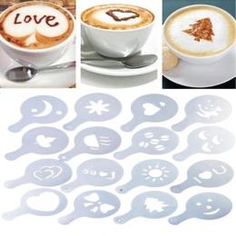 16 sztuk/zestaw kawy Latte Cappuccino kawy Art szablony szablon Strew kwiaty Pad Duster do kawy Decor narzędzia akcesoria