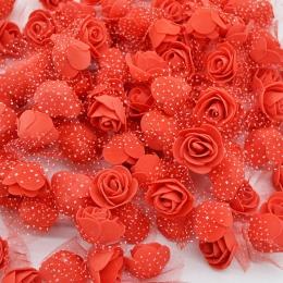 50 sztuk/partia 3.5 cm Mini PE pianki wzrosła głowy sztuczne jedwabne kwiaty dla domu ogród DIY pom pom wieńce ślub dekory