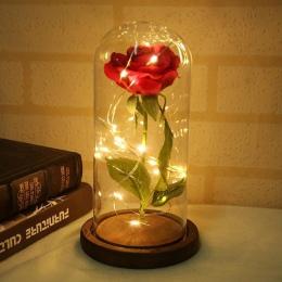 LED piękna róża i bestia zasilany z baterii czerwony kwiat ciąg światła lampy biurko romantyczne walentynki prezent urodzinowy d