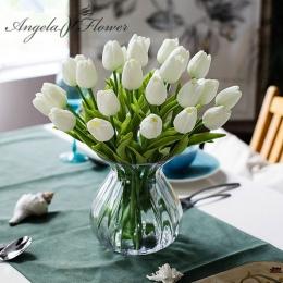 Darmowa wysyłka 31 sztuk/partia pu mini kwiat tulipana prawdziwy dotyk bukiet ślubny kwiat sztuczne jedwabne kwiaty do dekoracji