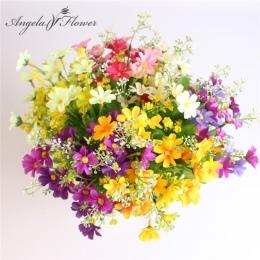 Jeden bukiet 7 gałęzi 28 głów słodkie jedwabne daisy sztuczne dekoracyjne kwiat bukiet ślubny kwiat dekoracja pokoju w domu poko