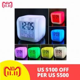 Drop shipping 2019 nowy 7 kolory zmiana LED cyfrowy budzik biurko termometr noc świecące Cube zegar LCD domu TSLM1 BTZ1