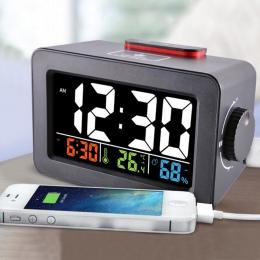 Pomysł na prezent nocna Wake Up cyfrowy budzik z termometrem higrometr temperatura wilgotność stół zegar na biurko ładowarka do