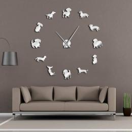 DIY jamnik Wall Art Wiener-Dog Puppy Dog Pet bezramowe gigantyczny zegar ścienny z efektem lustra kiełbasa pies duży zegar ścien