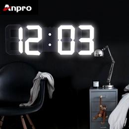 Anpro 3D duży LED cyfrowy zegar ścienny data czas celsjusza Nightlight wyświetlacz tabeli pulpitu zegary budzik z salonu
