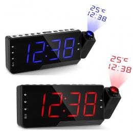 Cyfrowy radio z budzikiem projekcja drzemki zegar temperatury wyświetlacz LED ładowarka z kablem USB 110 stopni tabeli ściany ra