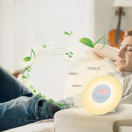 Obudzić budzik z lampką wschód/zachód słońca symulacji zegar cyfrowy z radiem FM 7 kolory światła dźwięki funkcja sterowanie dot