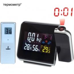 Cyfrowy budzik projekcyjny stacja pogodowa z temperatura wilgotność higrometr termometr/lampki nocne budzik projektor zegar