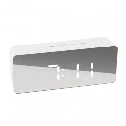 Piosenka JULY'S lustro LED cyfrowy budzik lampki nocne termometr elektroniczny zegar stołowy prostokąt wielofunkcyjny zegary biu