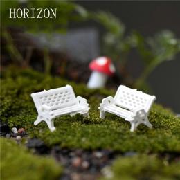 2 sztuk/partia białe krzesło domek dla lalek miniaturowe piękne słodkie bajki ogród Gnome mech Terrarium wystrój rzemiosło Bonsa