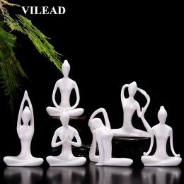 VILEAD 12 style biały ceramiczny figurki jogi Ename joga miniatury streszczenie mio Stattues Yoj figurki Vintage Home Decor