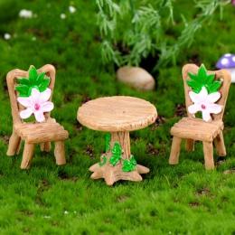 Żywica Terrarium 3 sztuk/zestaw ogród stół krzesło figurka ozdoba Micro krajobraz ozdoba bajki miniaturowe rzemiosło