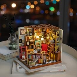 Rolife wystrój domu figurki DIY Sam pokój do nauki drewna miniaturowy Model zestawy dekoracji domek dla lalek boże narodzenie pr