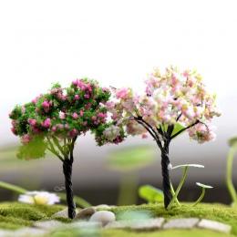 Z tworzywa sztucznego Mini symulacja drzewa wierzby Sakura miniatury Kawaii Microlandscape ustawienie do ogrodu 1 PC nowy ogród