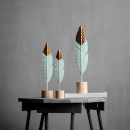 Nowoczesne piórko dekoracje drewniane proste miniaturowe figurki do stół do pokoju dziennego biuro akcesoria do dekoracji domu
