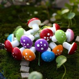 20 sztuk czerwony/multi-kolorowe pianki grzyby miniatury bajki ogród DIY butelka krajobraz dekoracyjne grzyby rysunek dekoracyjn