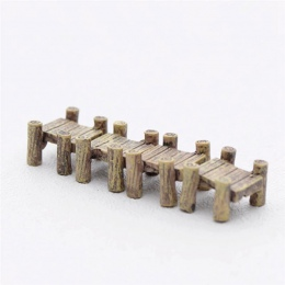 3 sztuk/zestaw drewniany most miniatury bajki figurki żywiczne Bonsai Micro krajobraz rzemiosło DIY bajki ogród dekoracji