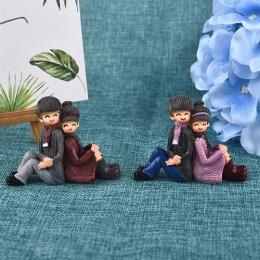 Kreatywny Back-To-Back miłośników para żywica ozdoby mech mikropejzaż domu ogrodowa dekoracja ślubna