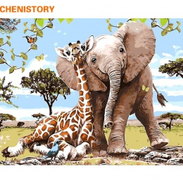 CHENISTORY bezramowe słoń żyrafa obraz DIY przez numery nowoczesne Wall obraz farba By Numbers unikalny prezent dla Home Decor