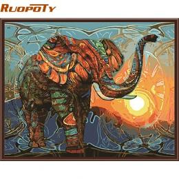 RUOPOTY słoń obraz DIY według numerów zwierzęta Vintage malarstwo akrylowe obraz dekoracje ścienne do domu wyjątkowy prezent gra