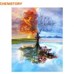 CHENISTORY bezramowe cztery pory roku drzewo krajobraz obraz DIY według numerów zestaw farby na płótnie malarstwo kaligrafii do