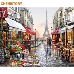 Bezramowa europa miasto ulica obraz DIY numerami dekoracje do domu ręcznie malowane abstrakcyjny obraz olejny do salonu grafika