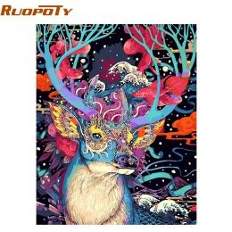 RUOPOTY boże narodzenie Deer obraz DIY według numerów zwierzęta farba akrylowa według numerów ręcznie malowane obraz olejny mala