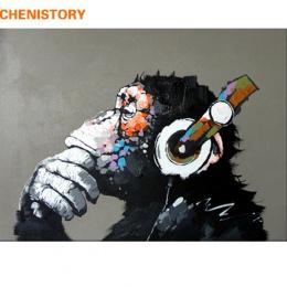 CHENISTORY streszczenie małpa obraz DIY według numerów domu ściany obraz farby przez numery kaligrafia malarstwo 40x50 cm grafik