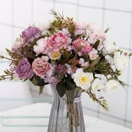 Piwonia DIY strona dekoracji w stylu Vintage jedwab sztuczne kwiaty mała róża ślub sztuczne kwiaty materiały festiwalowe Home De