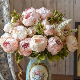1 bukiet europejskiej sztuczka piwonia dekoracyjne kwiaty ze sztucznego jedwabiu piwonie dla domu wystrój hotelu DIY dekoracje ś