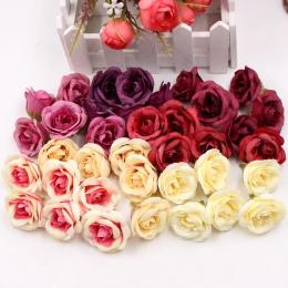 10 sztuk 4 cm sztuczny kwiat kwiat róży z jedwabiu głowy wesele strona główna dekoracji kwiaty do składania ścienny notatnik pre