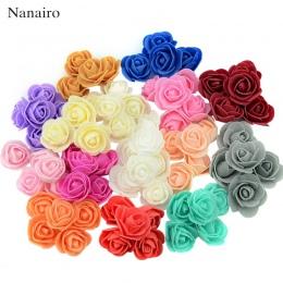 50 sztuk/worek Mini róża z pianki polietylenowej głowy sztuczna róża kwiaty Handmade DIY dekoracje ślubne świąteczne i zaopatrze