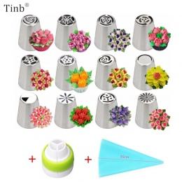 14 sztuk/zestaw rosyjski tulipan oblodzenie rurociągi dysze ze stali nierdzewnej kwiat krem ciasto porady dysze torba Cupcake ci