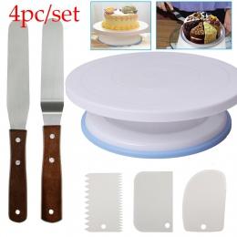 6 sztuk/zestaw plastikowe ciasto gramofon obracanie ciasto z tworzywa sztucznego nóż do ciasta dekorowanie 10 Cal krem do ciasta