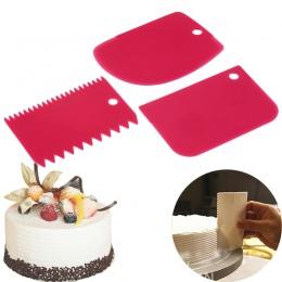 3 sztuk/zestaw Hot wysokiej jakości kolorowe wielofunkcyjne nieregularne zęby krawędzi DIY krem skrobak zestaw ciasto formy narz