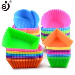 6 sztuk silikonowe formy serca Cupcake mydło silikonowe formy ciasto Muffin pieczenia Nonstick i odporny na ciepło wielokrotnego