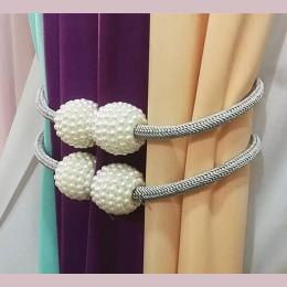 2019 nowy beżowy magnetyczne perła piłka taśma do marszczenia zasłon s Tie Backs Holdbacks klamra klipy akcesoria taśma do marsz