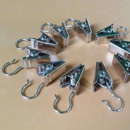 10 sztuk Heavy Duty czarny kurtyny metalowe klipsy hak srebrny klipy ze stali nierdzewnej CP054 #45